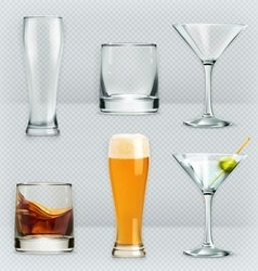 Glasses alcohol drink icon set vector