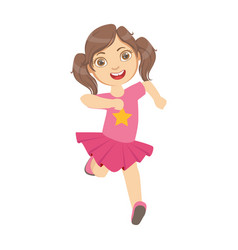 little girl running in a pink dress kid in a vector image