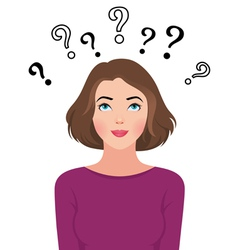 Portrait of a a thinking young woman asks question vector image vector image
