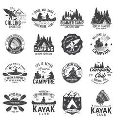 set of canoe kayak and camping club badge vector image vector image