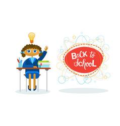 back to school girl pupil sitting at desk studing vector image