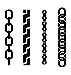 black metal chain parts icons set vector image