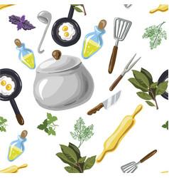 kitchen utensils seamless pattern hand drawn pop vector image vector image