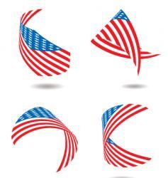 us flag ribbon vector image