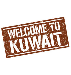 Welcome to kuwait stamp vector