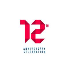 12 th anniversary celebration template design vector