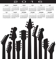 2016 guitar headstock calendar vector