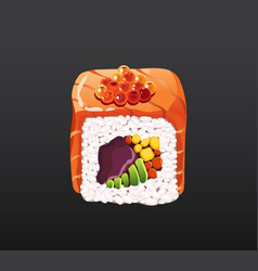 3d sushi roll traditional seaweed fresh raw food vector image
