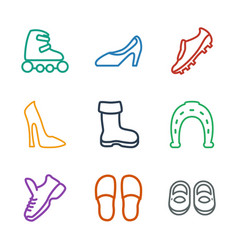 9 shoe icons vector