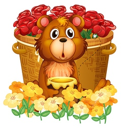 A bear in front of the basket with red roses vector image