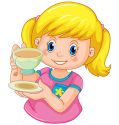A girl drinking tea vector