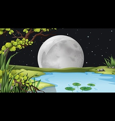A pond under the fullmoon vector