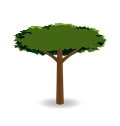A stylized drawing of a green tree with a round vector image
