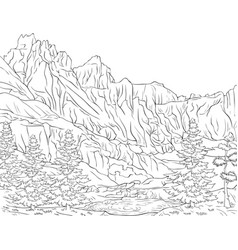 adult coloring bookpage a nature landscape image vector image