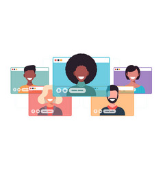 African businesswoman chatting during video call vector