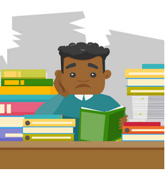 African student studying hard before the exams vector