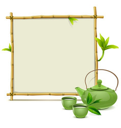 Bamboo Frame with Green Tea vector