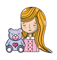Beauty woman with hairstyle and teddy beard vector