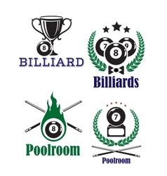 Billiards or poolroom emblems vector image