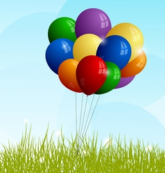 Bunch of full-color balloons on green grass vector image vector image