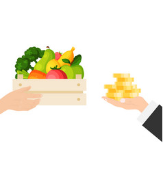 Businessman hand hold cash money gold coin buy vector