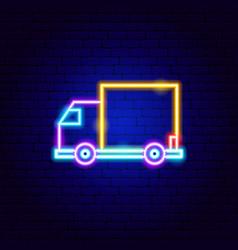 Cargo truck neon sign vector