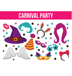 Carnival party bright accessories on promotional vector