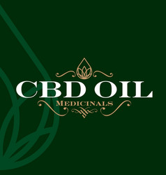 Cbd oil logo label vector