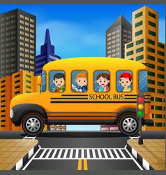 Children of a school bus vector