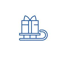 christmas gift box sleigh line icon concept vector image