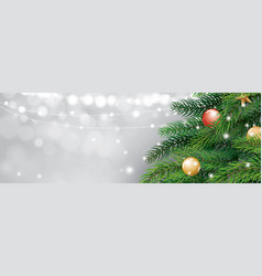christmas tree and blur bokeh lights background vector image