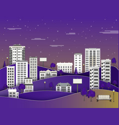 city landscape in night with multistorey apartment vector image