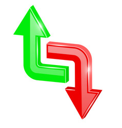 Colored 3d arrows up and down vector