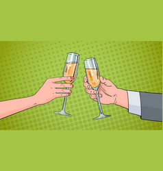 Couple hands clinking glass of champagne wine vector