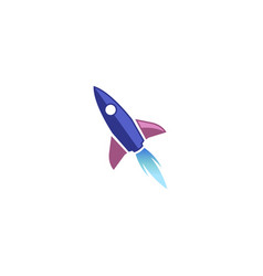 creative blue rocket launch logo vector image