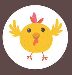 cute cartoon yellow chicken vector image