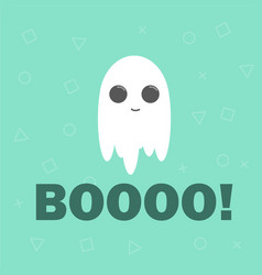 cute ghost flat design halloween banner vector image