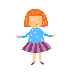 cute little girl spreads her hands in vector image
