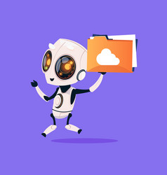 Cute robot hold folder with cloud isolated icon on vector