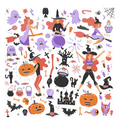 cute young witch halloween objects collection vector image