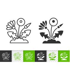 Dandelion simple black line icon vector
