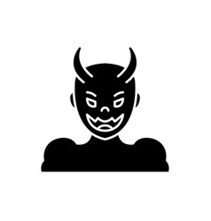 devil black icon sign on isolated vector image