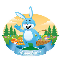 easter bunny with basket full of eggs vector image