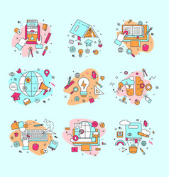Education icons and learning vector