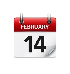 february 14 flat daily calendar icon date vector image