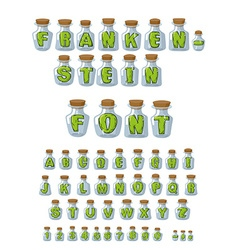 Frankenstein font Green Letters in laboratory jars vector