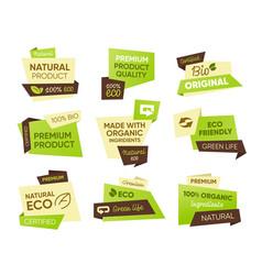 Fresh eco food tags set vector