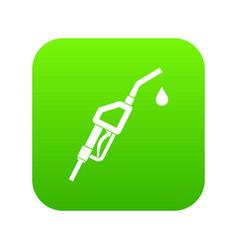 gasoline pump nozzle icon digital green vector image