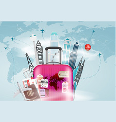 go travel concept with the bag vector image