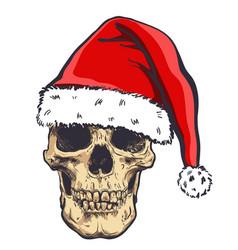 Graphical skull in new years hat vector